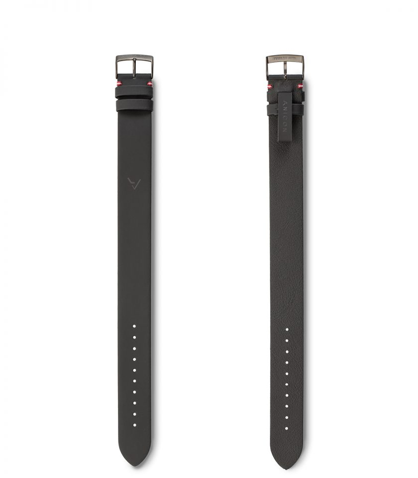ANICON Idol All Black Genuine Leather strap front_back view